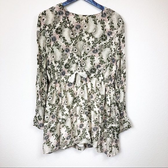 Free People Tops - Free People Ivory Green Stealing Fire Tunic Dress